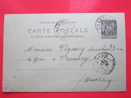 Cp écrite BONNOT BURALISTE à CHAMPLEMY (58) Le 24/11/1898 Oblitérée CHAMPLEMY & PREMERY (58) Timbre Entier Type SAGE - Ganzsachen
