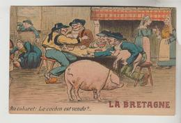 CPSM HUMOUR COCHON FOIRE - BRETAGNE : Au Cabaret Le Cochon Est Vendu - Humor
