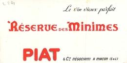 Ancien Buvard Collection LE VIN VIEUX PARFAIT RESERVE DES MINIMES PIAT ET CIE MACON SAONE ET LOIRE - Papel Secante