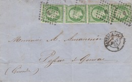 LETTRE 7 JANV 64. NANTES. NP NANTES A PARIS. N° 20 BANDE DE 4. - 1849-1876: Periodo Classico