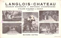 Ancien Buvard Collection LANGLOIS CHATEAU SAUMUR MOUSSEUX ST HILAIRE ST FLORENT MAINE ET LOIRE - Vloeipapier