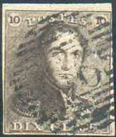 N°1 - Epaulette 10 Centimes Brune, TB Margée, Obl. P.66 JODOIGNE Finement Apposée Et Variété V.13, Pos. 139 «ligne Du Ca - 1849 Epaulettes