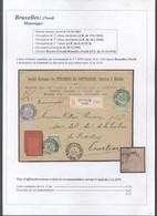 Fine Barbe - N°56 X2 Et 60 Sur Lettre En Recommandé De Bruxelles (Nord) > Courtrai / Tuilleries Du Pottelberg. - 1893-1800 Fijne Baard