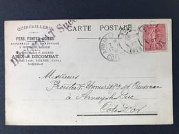 CPA Appareil Chauffage Quincaillerie Fonte Métaux  Décombat Roanne Cachet Marque Postale Arnay Le Duc Côte D'Or - Guerre De 1914-18