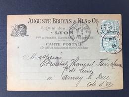 CPA Auguste Bruyas Lyon Clouterie Ferronnerie Timbre Blanc Cachet Marque Postale Arnay Le Duc Côte D'Or - 1877-1920: Période Semi Moderne