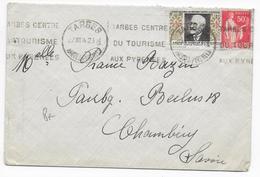 1934 - VIGNETTE TUBERCULOSE + PAIX Sur ENVELOPPE De TARBES (HAUTES PYRENEES) => CHAMBERY - Antituberculeux