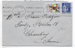 1938 - VIGNETTE TUBERCULOSE 1937 + PAIX Sur ENVELOPPE De TARBES (HAUTES PYRENEES) => CHAMBERY - Antituberculeux