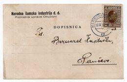 1931 YUGOSLAVIA, SLOVENIA, TPO 12  MARIBOR-BELGRADE, SENT TO PANCEVO, OKUCANI WOOD INDUSTRY, COMPANY POSTCARD, USED - Jugoslavia