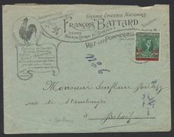 """J.O. D'Anvers - N°184 Sur Lettre Illustrée """"Vins & Spiritueux, Distillerie De Liqueurs Fines"""" Ville-Lez-Pommeroeul > Bel - Covers & Documents"""