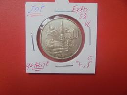 """Baudouin 1er. 50 Francs """"EXPO 1958"""" VL. ARGENT. BELLE QUALITE (A.5) - 1951-1993: Baldovino I"""