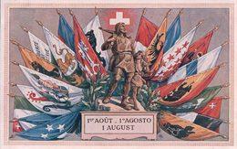 Fête Nationale Suisse 1er Août, Guillaume Tell Et Drapeaux Des Cantons (20) - Other