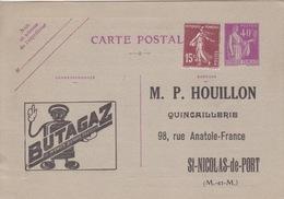 Entier 40c Paix Violet Repiqué (Butagaz, MP Houillon Quincaillerie à St Nicolas De Port), Bon De Commande Au Dos - Enteros Postales