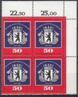 BERLIN  523, 4erBlock Eckrand, Postfrisch **, 125 Jahre Berliner Feuerwehr 1976 - Berlin (West)