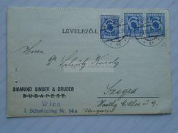 ZA272.12 Austria  Sigmund Singer & Bruder  Wien -  1931  Nach Szeged  Dr. Schulz Karoly - 1918-1945 1st Republic