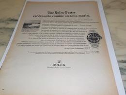 ANCIENNE PUBLICITE ETANCHE COMME UN SOUS MARIN  MONTRE ROLEX OYSTER  1966 - Advertising
