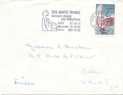 FRANCE SOS AMITIE SECOURS MORAL NICE COVER SPECIAL POSTMARK (FEB201533) - Primo Soccorso