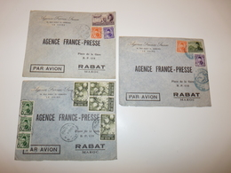 LOT 3 LETTRES A EN-TETE AGENCE FRANCE PRESSE 14 RUE SARAY EL EZBEKIEH LE CAIRE EGYPTE RABAT MAROC PAR AVION 1947 A 1949 - Cartas