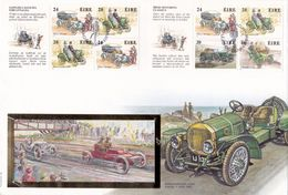 "Irland - Eire 1989: Michel-No. 671-674 D+E = MH 12 ""IRISH MOTORING CLASSICS"" Auf GROSS-FDC O BAILE ATHA CLIATH 11-IV-89 - Coches"