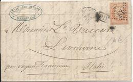LT5054 N°23/lettre Pour L'étranger, Oblit GC 2240 Marseille (12) Pour Livourne(Italie) Du 7 Aout 1863, PD Dans Un Rectan - 1862 Napoleone III
