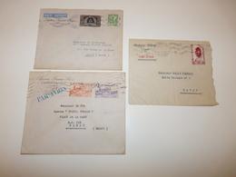 LOT 3 LETTRES A EN-TETE AGENCE FRANCE PRESSE PASSAGE ST JEAN TUNIS - TUNIS SOIR PAR AVION TUNIS MAROC ANNEE 1947 A 51 - Cartas