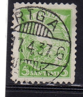LATVIA LETTLAND LETTONIA LATVIJA 1934 ARMS AND SHIELD STEMMA ARMOIRIES 5s USATO USED OBLITERE' - Lettonia