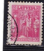 LATVIA LETTLAND LETTONIA LATVIJA 1934 ALLEGORY ALLEGORIA 20s USATO USED OBLITERE' - Lettonia