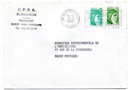 France N° 1967 Et 2058 Y. Et T. Vienne Montmorillon Flamme Illustrée Du 05/03/1980 Sur Lettre - 1961-....