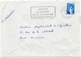 France N° 1975 Y. Et T. Vienne Poitiers Centre De Tri Flamme Illustrée Du 25/09/1980 Sur Lettre - 1961-....