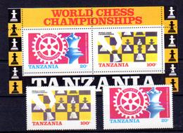 Tanzanie 1986, Championnat Du Monde D'échecs Et Rotary, 275 / 276 + BF 44**, Cote 33 €, P - Tanzanie (1964-...)