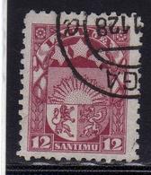 LATVIA LETTLAND LETTONIA LATVIJA 1923 1925 ARMS AND STARS FOR VIDZEME KURZEME LATGALE STEMMA 12s USATO USED OBLITERE' - Lettonia