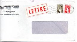 France N° 2057 Et 2059 Y. Et T. Indre Et Loire Chambray Les Tours Flamme Ondulée Du 04/01/1980 Sur Lettre - 1961-....