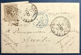 Lettre N°177 Obl De Cadiz Pour Saintes En France + Dateur D'entrée En Bleu 3le Perthus...TTB - 1875-1882 Royaume: Alphonse XII