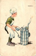Scouts, Márton L., Marton L., Scout Chef With A Bad Cat, 1926, Old Postcard With Scout Big Camp Cancellation - Scouting