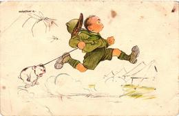 Scouts, Márton L., Marton L., Scout And A Dog Chased By Mosquitos, Old Postcard - Scouting