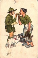 Scouts, Márton L., Marton L., Scouts Sharing Food, The Scouts Are Brothers, Old Postcard - Scouting
