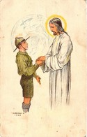 Scouts, Márton L., Marton L., Scout With Jesus, The Scouts Is Honest And Always Tell The Truth, Old Postcard - Scouting