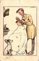 Scouts, Márton L., Marton L., Scout At The Barber, Old Postcard - Scouting