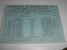 VOLANTINO ORARIO DAL 22 MAGGIO 1937 VERONA,GARDA,MALCESINE,RIVA DEL GARDA - Dépliants Turistici