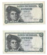 5 Pesetas Suite De 2 Billets 1948 Juan Sebastian ELCANO 1948 - Peu Circulé - [ 3] 1936-1975 : Regime Di Franco