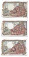 20 Francs Pêcheur  Suite De 3 Billets - Série Q148 - 5/7/1945 - 20 F 1942-1950 ''Pêcheur''