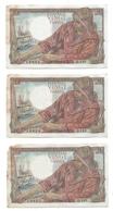 20 Francs Pêcheur  Suite De 2 Billets +1 - Série Q148 - 5/7/1945 - 20 F 1942-1950 ''Pêcheur''