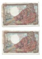 20 Francs Pêcheur  Suite De 2 Billets  - Série Q148 - 5/7/1945 - 20 F 1942-1950 ''Pêcheur''