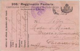 1916 208  REGGIMENTO FANTERIA Stemma A Destra Nero Su Rosa Viaggiata Posta Militare Non Affrancata Non Tassata - Marcophilia