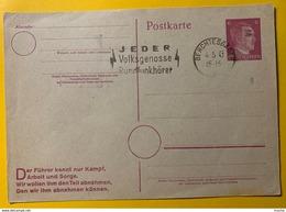 9542 - Entier Postal Hitler 6pf Berchtesgaden 4.05.1945 Date De L'entrée De La 2e DB Dans La Ville - Wars