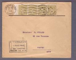 Lettre Obl. Amiens-Gare 17.03.1945 Aff. Bande De 4 Arc De Triomphe 50c-> Troyes - Marcophilie (Lettres)