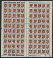 """N° 834 Feuille Complète De 100 Ex. """"Blason De Bourogne"""". Neufs ** (MNH). Avec Coin Daté Du 24/1/51. TB - Fogli Completi"""