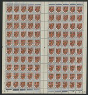 "N° 834 Feuille Complète De 100 Ex. ""Blason De Bourogne"". Neufs ** (MNH). Avec Coin Daté Du 24/1/51. TB - Ganze Bögen"