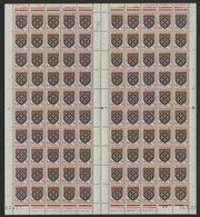 """N° 899 Feuille Complète De 100 Ex. """"Blason D'Artois"""". Neufs ** (MNH). Avec Coin Daté Du 24/8/51. TB - Fogli Completi"""