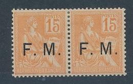 DI-467: FRANCE: Lot Avec FM N°1* (paire) - Franchise Militaire (timbres)