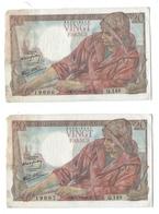 20 Francs Pêcheur  Suite De 5 Billets  - Série Q148 - 5/7/1945 - 20 F 1942-1950 ''Pêcheur''